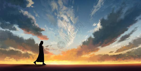 一个军人在夕阳下图片_下雨天一个人图片素材-正版创意图片400607050-摄图网