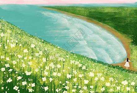 海岸花海边的女孩图片