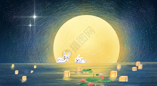 情侣坐在船上赏月图片