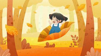 秋天坐在叶子上的小女孩图片