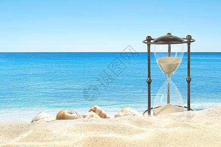 海滩沙漏图片