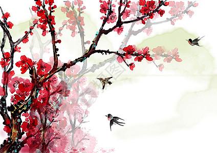 中国风水墨红梅图片