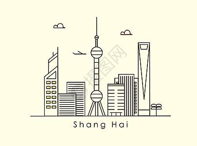 上海风光插画图片