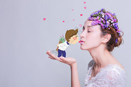 甜蜜接吻创意摄影插画图片