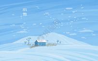 小雪二十节气精致插画图片