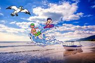 海边冲浪图片