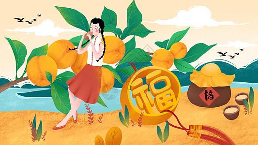 秋收黄桃吹埙女孩图片
