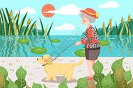 绿色重阳节老人郊外遛狗场景插画图片
