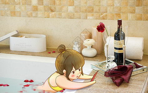 创意洗澡女孩卡通手绘图片