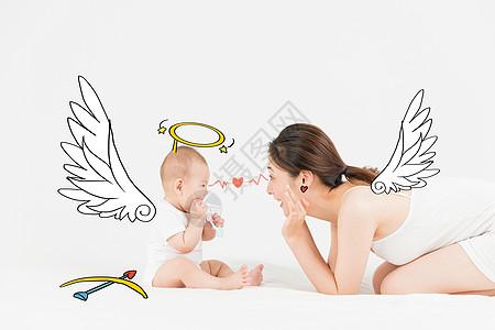 守护天使亲子创意手绘图片
