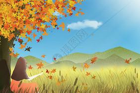 秋天靠在树旁的女孩背影图片