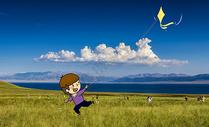 草原上放风筝创意摄影插画图片