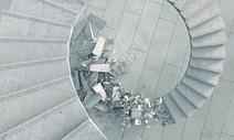 破碎的旋转楼梯图片