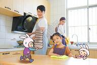 家庭温馨团圆卡通配图图片