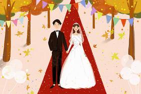 婚礼插画图片