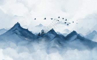 立冬淡雅水墨山水画插画图片