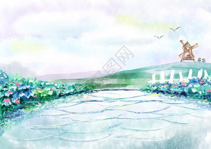 水彩池塘风景图片