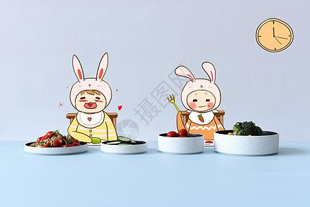 可爱家庭午饭手绘配图图片