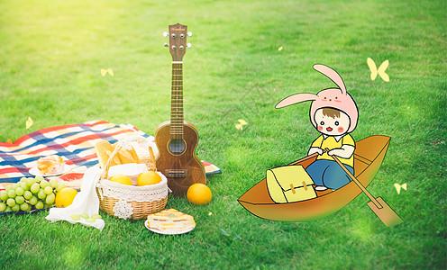 秋日草地嬉戏创意手绘图片
