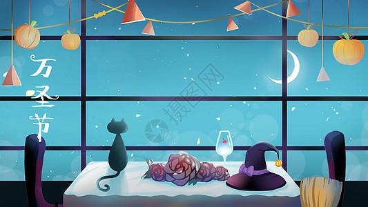 万圣节夜晚窗边一角图片