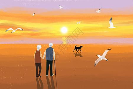 夕阳下的老人图片