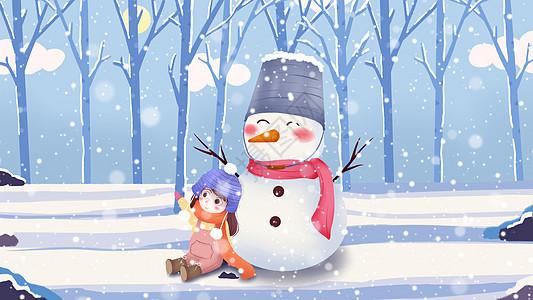 唯美大雪堆雪人下雪插画图片