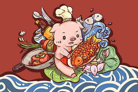 猪年吃鱼图片