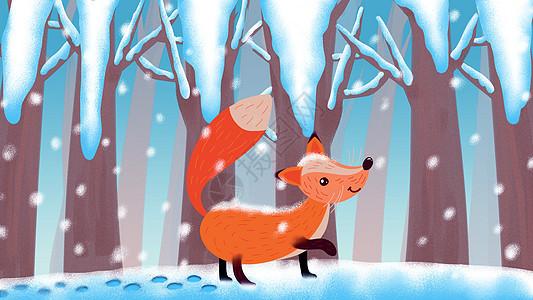 大雪小雪雪中狐狸插画图片