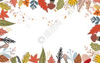 秋天手绘水彩枫叶背景图片