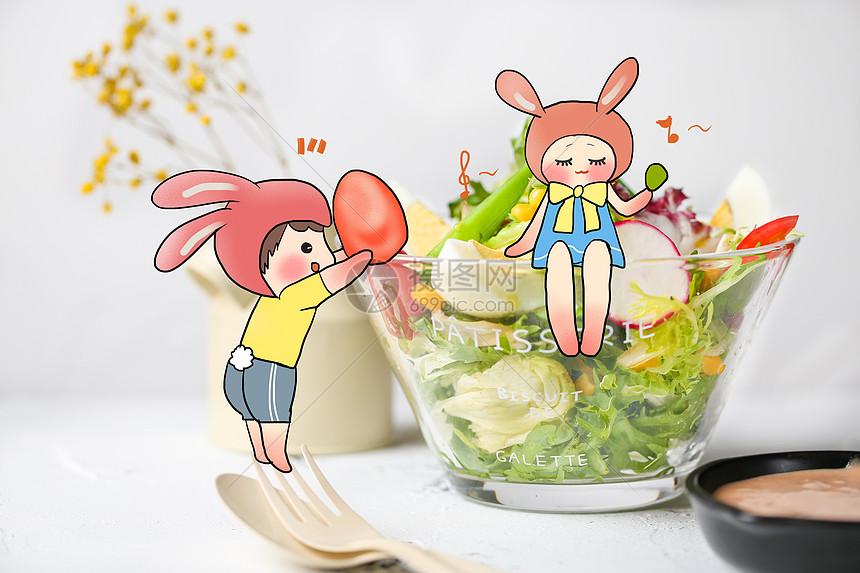 贪吃的兔子创意手绘图片