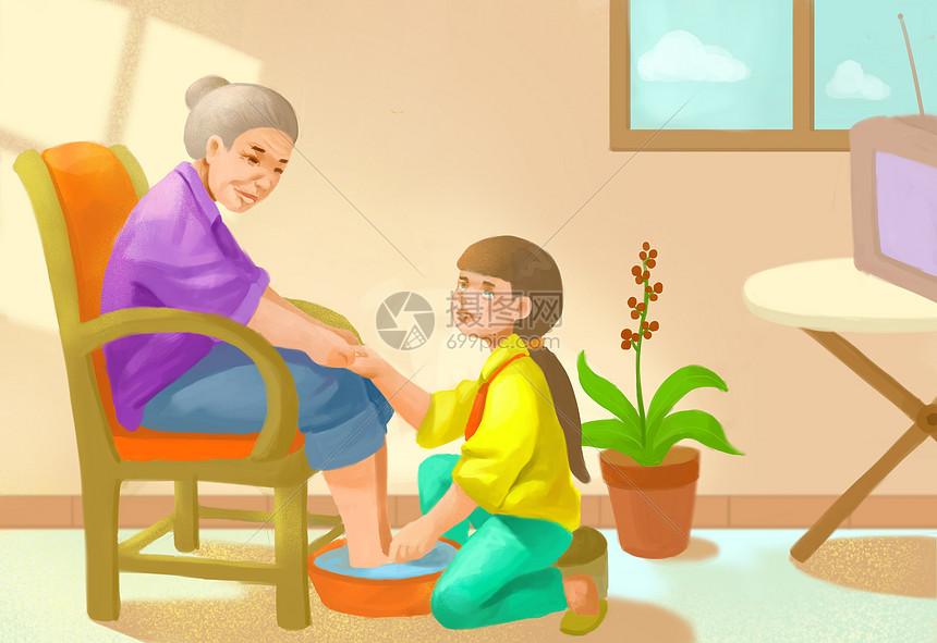 给奶奶洗脚图片