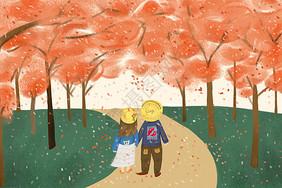 大树下情侣插画图片