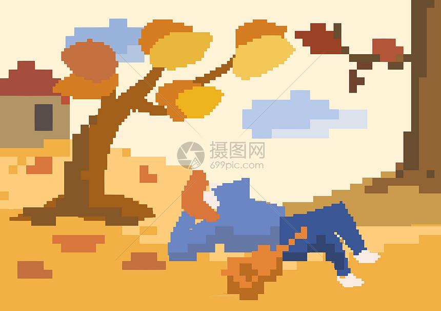 秋天像素画背景图片