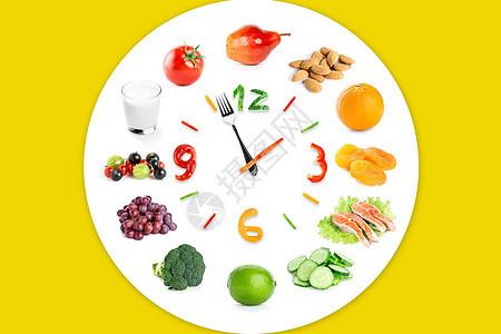 瓜果蔬菜时间钟图片