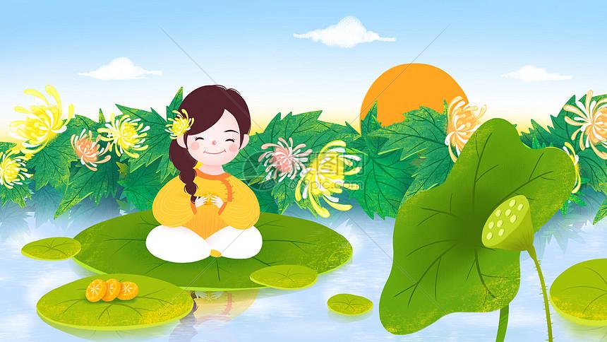 重阳节吃菊花糕女孩图片