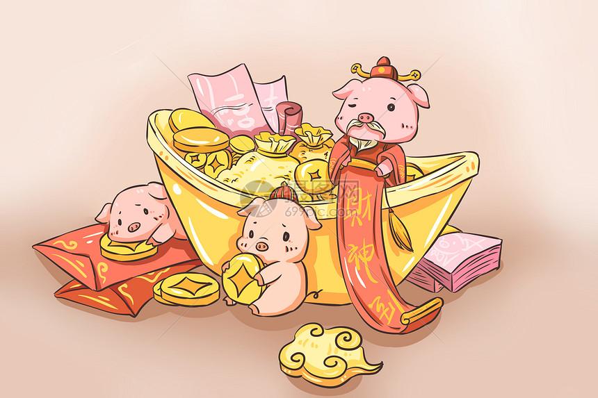 猪年财源滚滚图片