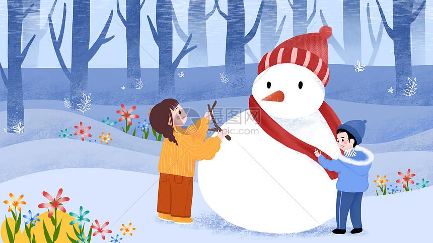 节气大雪冬天堆雪人男孩女孩图片