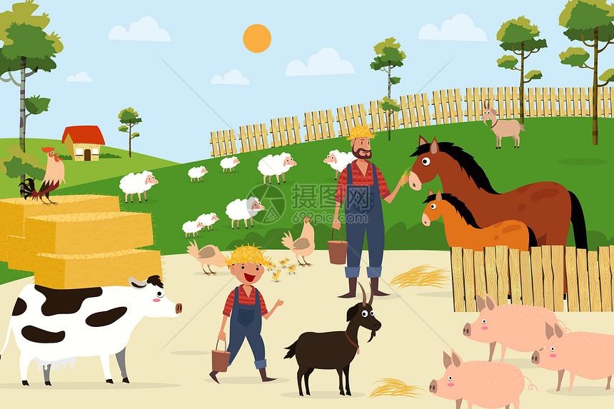 父子在农场场景图片