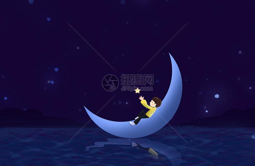 唯美插画月亮与少年图片