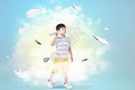 拿着纸飞机的男孩图片