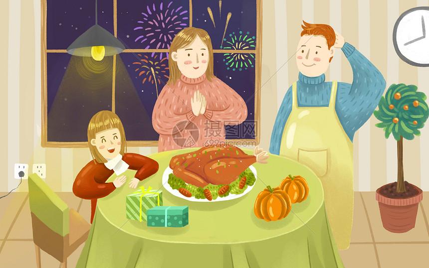 温馨感恩节晚餐图片