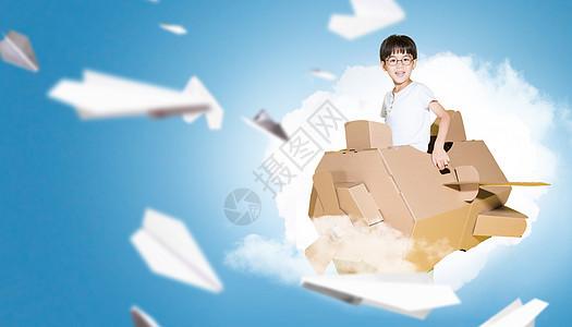 开纸飞机的小男孩图片