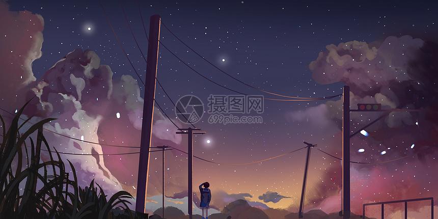 电车铁轨星空插画图片