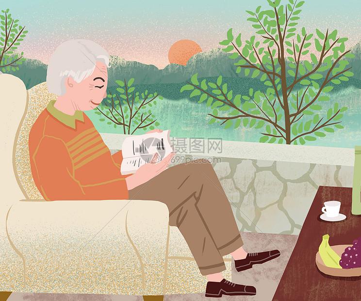 唯美清新简约风老人看书插画图片