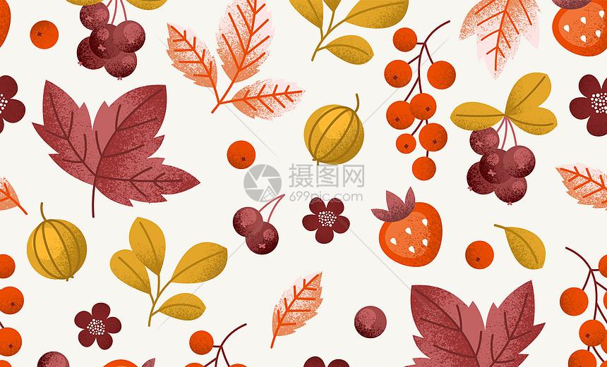 水彩秋天植物背景图片