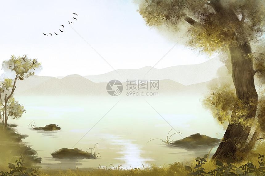 水墨秋景图片