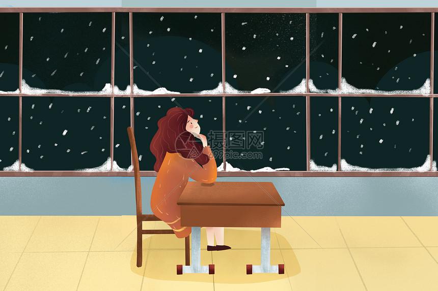 手绘背景小雪图片