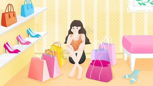 购物狂女孩图片