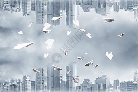 纸飞机漂浮图片