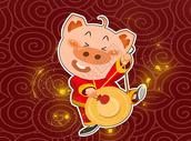 小猪敲锣图片